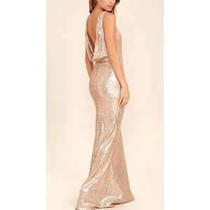 Lulu's Rose Gold Sequin Maxi Gown Draped Backless